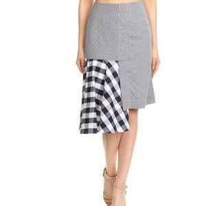 BEULAH Gingham Plaid Asymmetrical Skirt Size Large